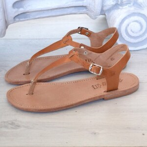 Leather Sophia Greek Tan Flat Up Ring Handmade Toe Ancient SandalsTie Sandals Natural rQWdexBCoE