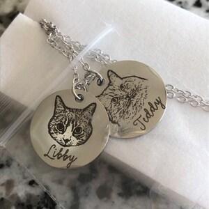 Personalized Jewelry Pet Portrait Custom Necklace Pet Jewelry Personalized Gifts Handmade Jewelry Cat Necklace for Women Pet Necklace LCN-AP photo