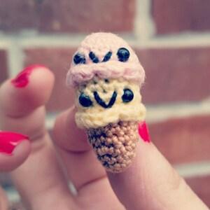 two scoop ice cream cone miniature dessert amigurumi doll