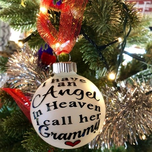 Personalized ornament Christmas stocking In memory of ornament I have an angel in heaven I call her ornament Stocking stuffer ornament