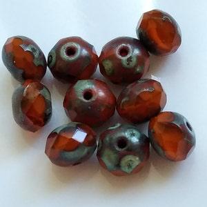ZINNIA No. 2 .. 10 Premium Picasso Czech Rondelle Glass Beads 5x7mm (4740-10) photo