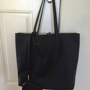 PRE-ORDER  Black Leather Tote Bag Basic Minimal Purse   Etsy 09aff1406d