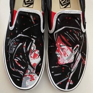 Ouija Board Hand Painted Shoes Custom Vans Slipons Goth Gift Spiritual Occult Ideas Halloween Fashion Paranormal Paraphernalia Spooky Kicks