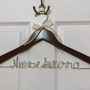 Sale Personalized Wedding Hanger Bridal Hanger Bride Hanger with Custom Date Double Line Wire Name Hanger Wedding Dress Hanger photo