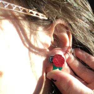 Sugar Magnolia Floral Earrings Grateful Dead Handmade Flower Sunshine Daydream Gifts Groovy Hippie Spring Summer Statement Stud Wood Earring