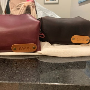 Personalized leather dopp kit, mens leather toiletry bag, mens dopp kit, mens toiletry bag photo