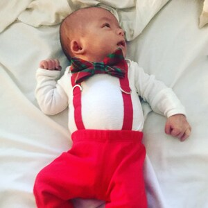 Baby Boy 1st Christmas Outfit. Baby Boy Tie and Suspenders. Infant Bowtie.  Newborn christmas outfit. Coordinating sibling christmas outfits. ba66d7f623