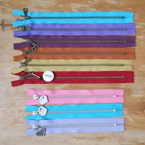 Metal Teeth Zippers- YKK Antique Brass Donut Pull 4.5s- 6 pc Jewel Tones Sampler Set- Available in 4,5,6,7,8,9,10,11,12,14 and 18 inches photo