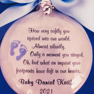 Miscarriage Baby Memorial Ornament You Tiptoed Into Our World Loss of Baby Miscarriage Keepsake,