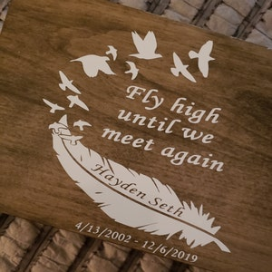 """6/"""" Fly high until we meet again RIP Memory Feather Birds Vinyl Decal Sticker"""