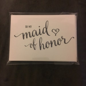 To My Bridesmaid, Wedding Party, Bridal Thank You Cards Thank You Bridesmaid Card, Matron Maid of Honor, Flower Girl Attendant (Set 6) CS15 photo