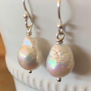 Twins Rabbit Baroque Pearl Silver Necklace2*2CM