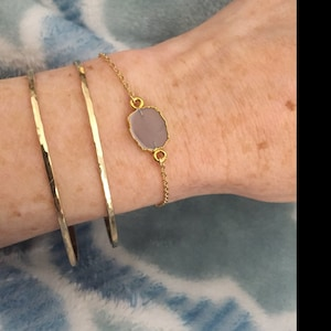 Stacking Bracelet Sterling Hand-Hammered or Smooth Finish \u2022 Dainty Cuff in 14k Gold Fill or Rose Gold \u2022 LB118 Thin Modern Cuff Bracelet