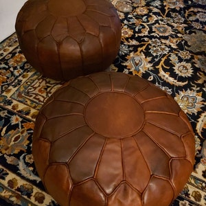Fine Pouf Luxury Pouf Brown Darker Leather Moroccan Pouf Leather No Smell Leather Pouf Ottoman Pouf Moroccan Leather Machost Co Dining Chair Design Ideas Machostcouk
