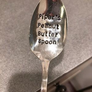 Under 20 Dollars Unique Gift you earned this custom spoon Vintage Spoon custom gift foodie gift peanut butter spoon Stamped Spoon