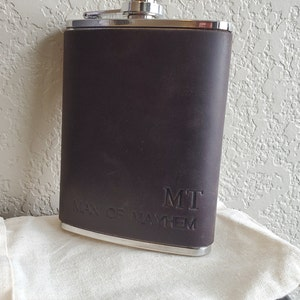 Leather hip flask personalized, Leather flask for men, personalized flask, engraved flask (hot stamped), 316 stainless steel photo