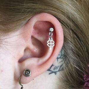 Blue 4-Leaf Clover Cartilage Earring Lucky Charm Shamrock Helix Stud 18g Piercing or Clear Gemstone Tragus Piercing Aurora Borealis