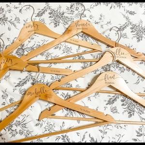Personalized Bridesmaid Hangers - Wedding Hanger - Wooden Engraved Hanger - Bridal Dress Hanger - Wedding Name Hangers HG100 photo