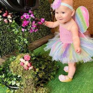 Newborn 3 6 9 12 18 Months 2T 3T 4T 5 6 Birthday Pastel Butterfly Aqua Mint Green Fairy Tutu or Dress Baby Gift Halloween Costume