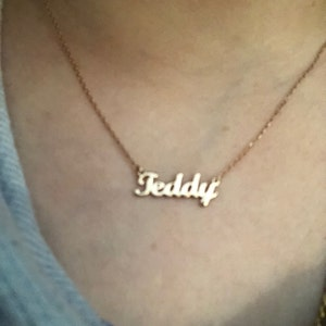 Tiny Gold Name Necklace-Personalized  Necklace,Gold Name Necklace,Personalized Jewelry,Personalized Gift,Gold Jewelry,Letter Necklace-JX02 photo