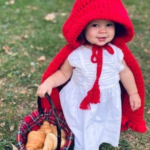 Crocheted Little Red Riding Hood Cape Halloween Costume Or Match With Christmas Dress for Family Photos Birthday Or Baby Shower Gift