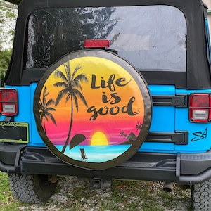 Live It Spare Tire Cover ANY Size ANY Vehicle,Trailer,Camper,RV Life is Short