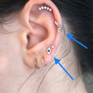 Tiny Evil Eye Stud Earrings • CZ dainty earrings • eye silver studs • small eye stud earrings • minimalist earrings • silver stud earrings photo