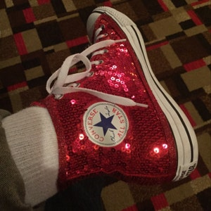 Red Sequin Converse® High Top Sneakers with Red Options | Etsy