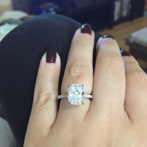 10x8mm Promise Ring Cushion Solitaire Ring Rectangle Cushion Cut Engagement Ring 4ct Sterling Silver Ring