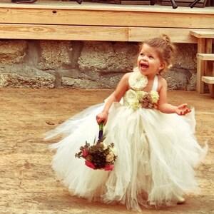 53369dea93f4 Rustic ivory champagne flower girl dress flower girl tutu