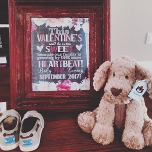 Valentines day pregnancy announcement, valentines pregnancy announcement,  valentines sweet we're growing by one more heartbeat, PRGVAL01