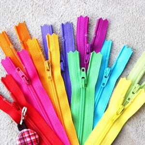 Zippers- BRIGHTS ykk coil zipper sampler pack 10 pcs- Available in sizes 3,4,5,6,7,8,9,10,12,14,16,18,20 and 22 Inch photo