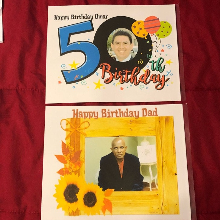 Happy 50th Birthday ~ Edible Photo Frame Cake Topper ~ D24114