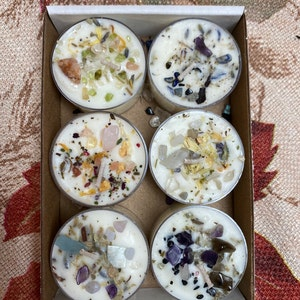 Crystals & Herbs Tealight Candles Soy - Energy Candles Handmade - Aromatherapy Candles - Soy Candle - Healing crystals - Custom Candles photo