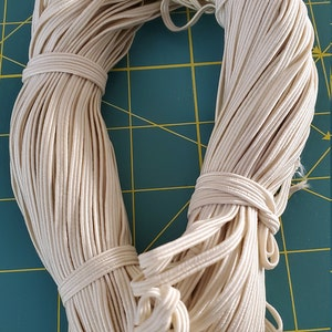 50 Yards - 1/8 inch Elastic - Cream - Skinny Elastic - Elastic by the yard - Thin Elastic - DIY - Headbands photo
