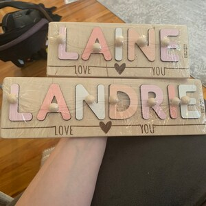 Personalized Name Puzzle With Pegs, New Baby Gift, Wooden Toys, Baby Shower, Christmas Gifts for Kids, Wood Toddler Toys, First Birthday photo