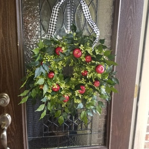 Fall Red Apple Wreath