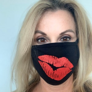 Cloth Face Mask with Filter Pocket   Cotton Washable Reusable   KISS LIPS Screen Print   Made in USA by Tough Cookie ToughCookieClothing photo