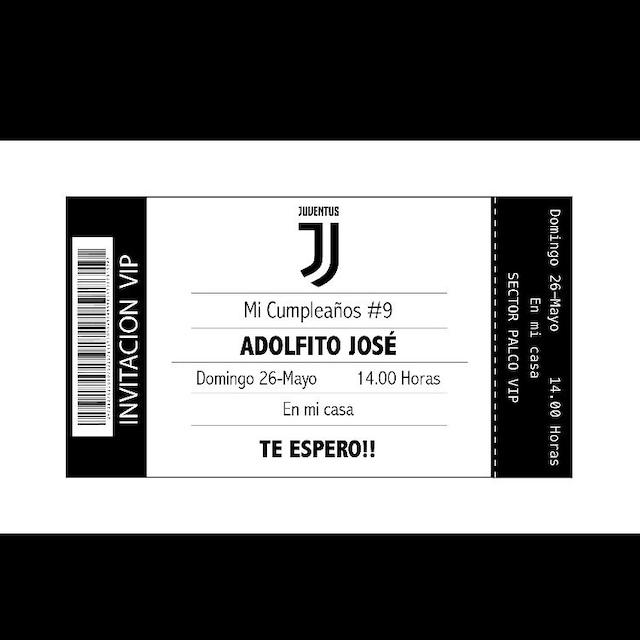 Juventus Invitation Printable Digital Birthday Party Invitation Invitación Cumpleaños Juventus Digital Imprimible Invito Di Compleanno