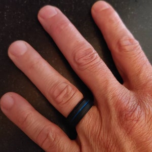 Silicone Ring Alternative Ring Outdoor Rugged Lifestyle Ring Blue Wedding Band For Mens Blue Ring Custom Unique Promise Ring Stepped Edges