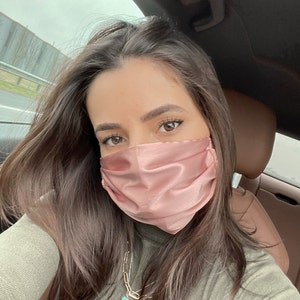 Same Day Dispatch -  MADE IN UK - Silk Face Mask - Silk Satin Face Mask - Double Layered Mask -Reusable Mask - Cloth Face Mask photo