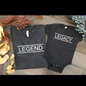 Legend Legacy, father son matching shirts, the legend thhe legacy, matching t shirts, pregnancy announcement, gender reveal, baby shower