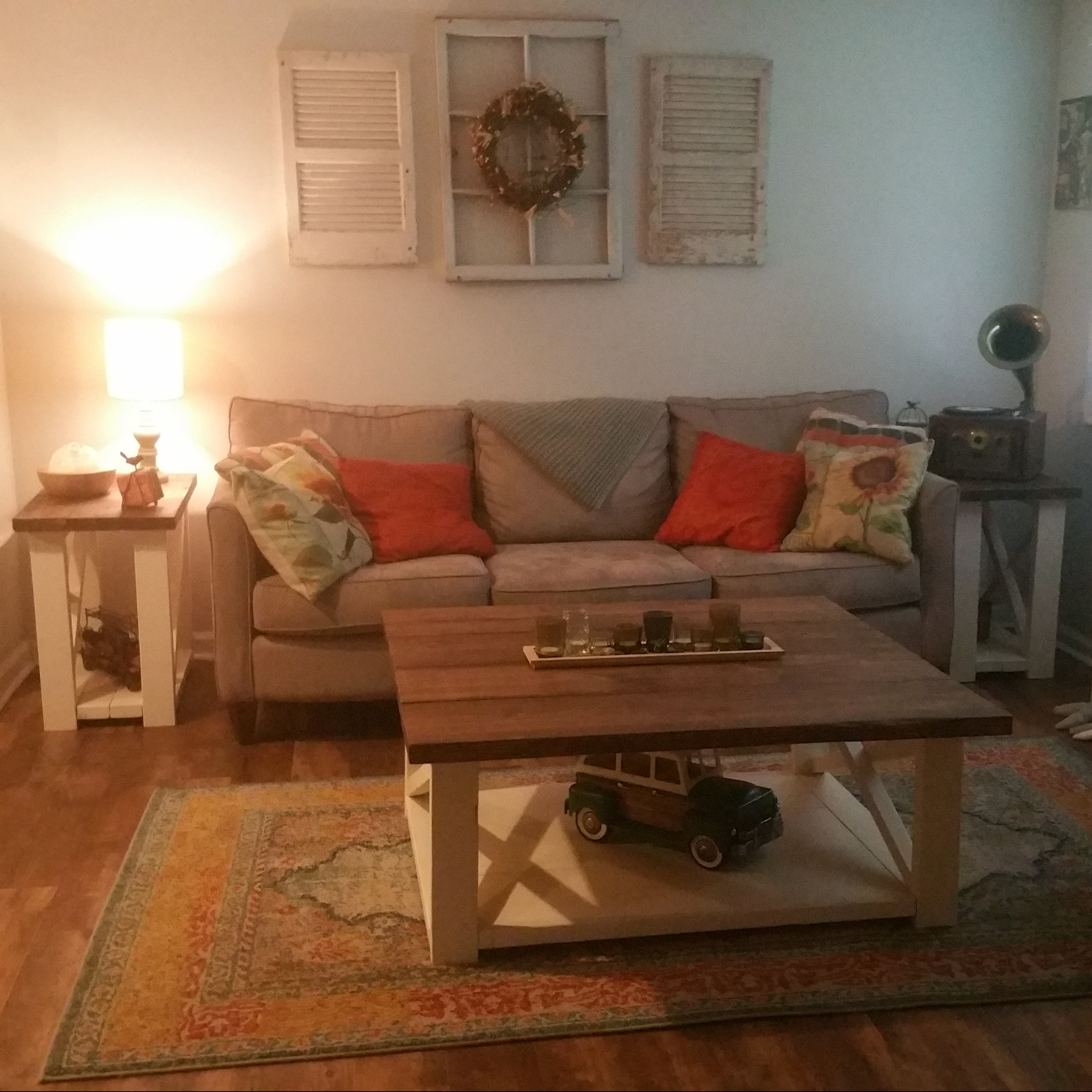Distressed Farmhouse Living Room: Rustic Living Room Set, Large Farmhouse Coffee Table With