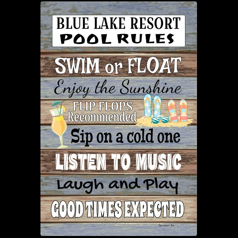 Pool Rules - 18x12 Metal Sign - Beach decor - Home Decor - Outdoor Decor -  Swimming Pool Sign - Pool Decor - Pool Sign