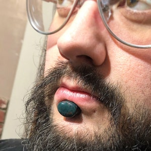 12 Lapis Lazuli Stone Oval Labret Plug 12mm