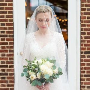 15ae9208481 Long Blusher Sheer Drop Wedding Veil Cathedral Veil Illusion