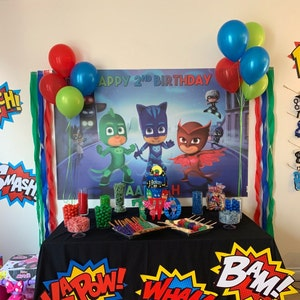 HoRmi Replacement for Pj Masks Party Decoration Supplies Backdrop Customized for Birthday Decor Num204