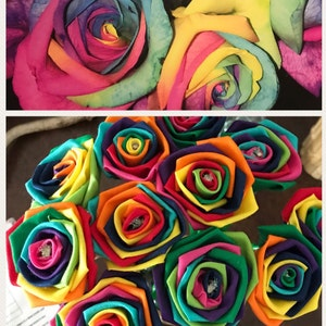 Glitter Rainbow Fabric Roses With Stems Sparkly Roses Etsy