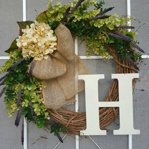hydrangea wreath with purple hydrangea mixed green eucalyptus etsy. Black Bedroom Furniture Sets. Home Design Ideas