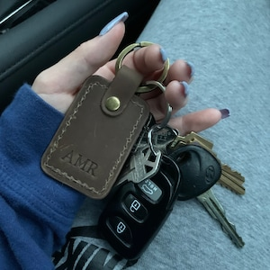 Personalized leather keychain, leather initial keychain personalized, key chain customized leather keychain for women, men leather key fob photo